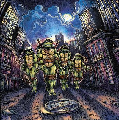 Cover art for Teenage Mutant Ninja Turtles (Original Motion Picture Score) (Michelangelo (Orange & Green) Vinyl Variant)
