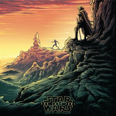 Cover art for Star Wars: The Last Jedi (Original Motion Picture Soundtrack) (Luke & Rey (Red & Gold Splatter on Dark Green) Vinyl Variant)